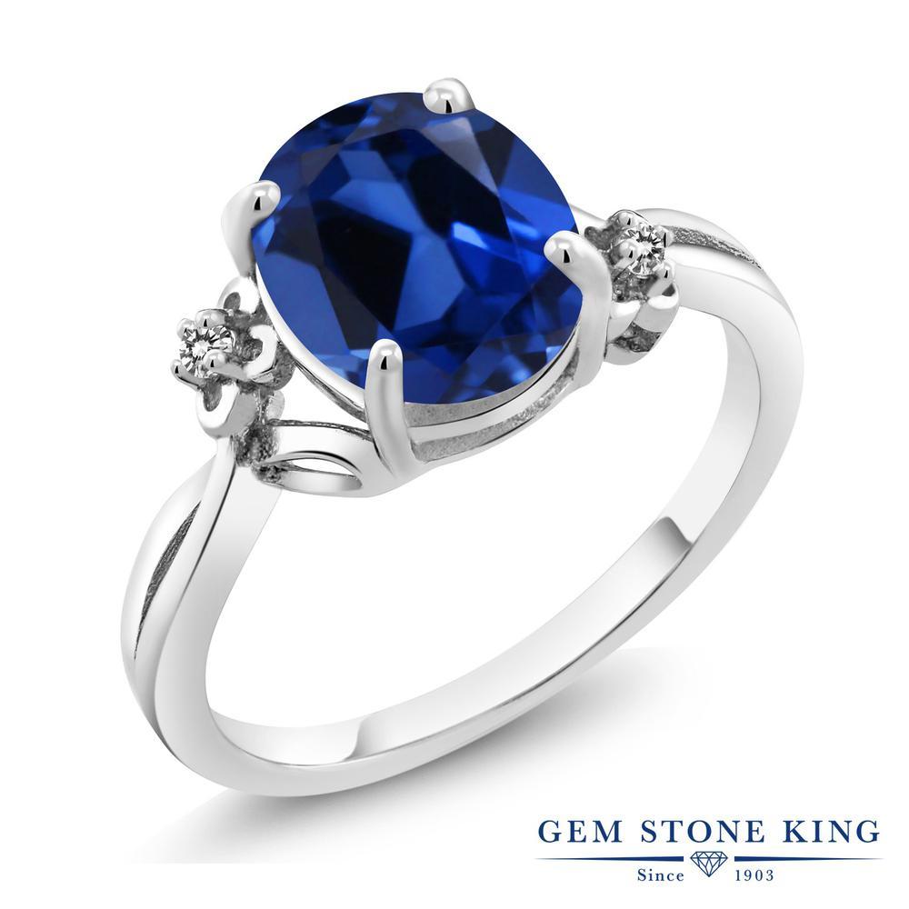 Gem Stone King 3.33カラット シミュレイテッド サファイア 天然 ダイヤモンド 指輪 リング レディース シルバー925 大粒 シンプル ソリティア 金属アレルギー対応