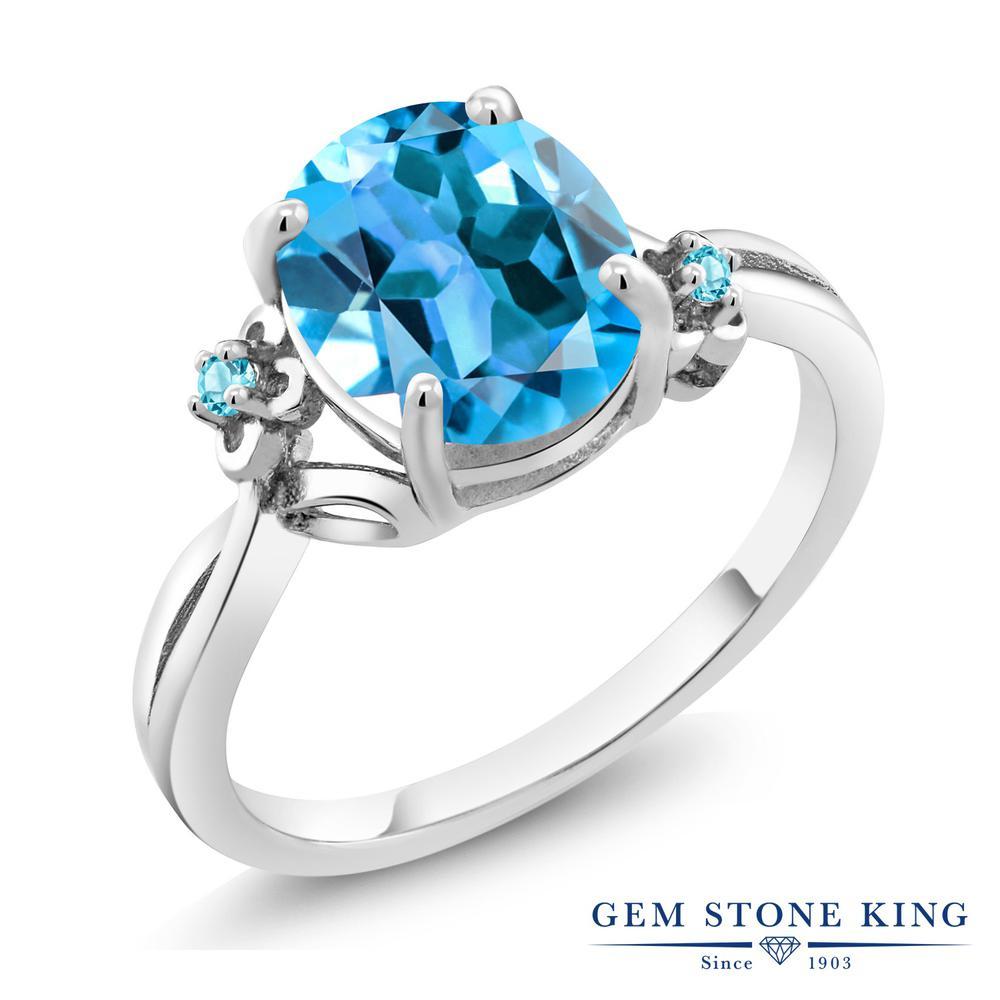 Gem Stone King 2.74カラット 天然トパーズ(スイスブルー) シルバー925 指輪 リング レディース 大粒 シンプル ソリティア 天然石 誕生石 金属アレルギー対応 誕生日プレゼント