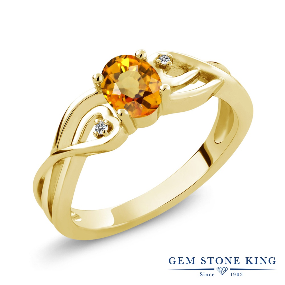 リング レディース 人気 ブランド 女性 プレゼント 0.56カラット 天然 イエローサファイア ダイヤモンド 指輪 レディース リング シルバー925 イエローゴールド 加工 シンプル ソリティア 天然石 9月 誕生石 金属アレルギー対応