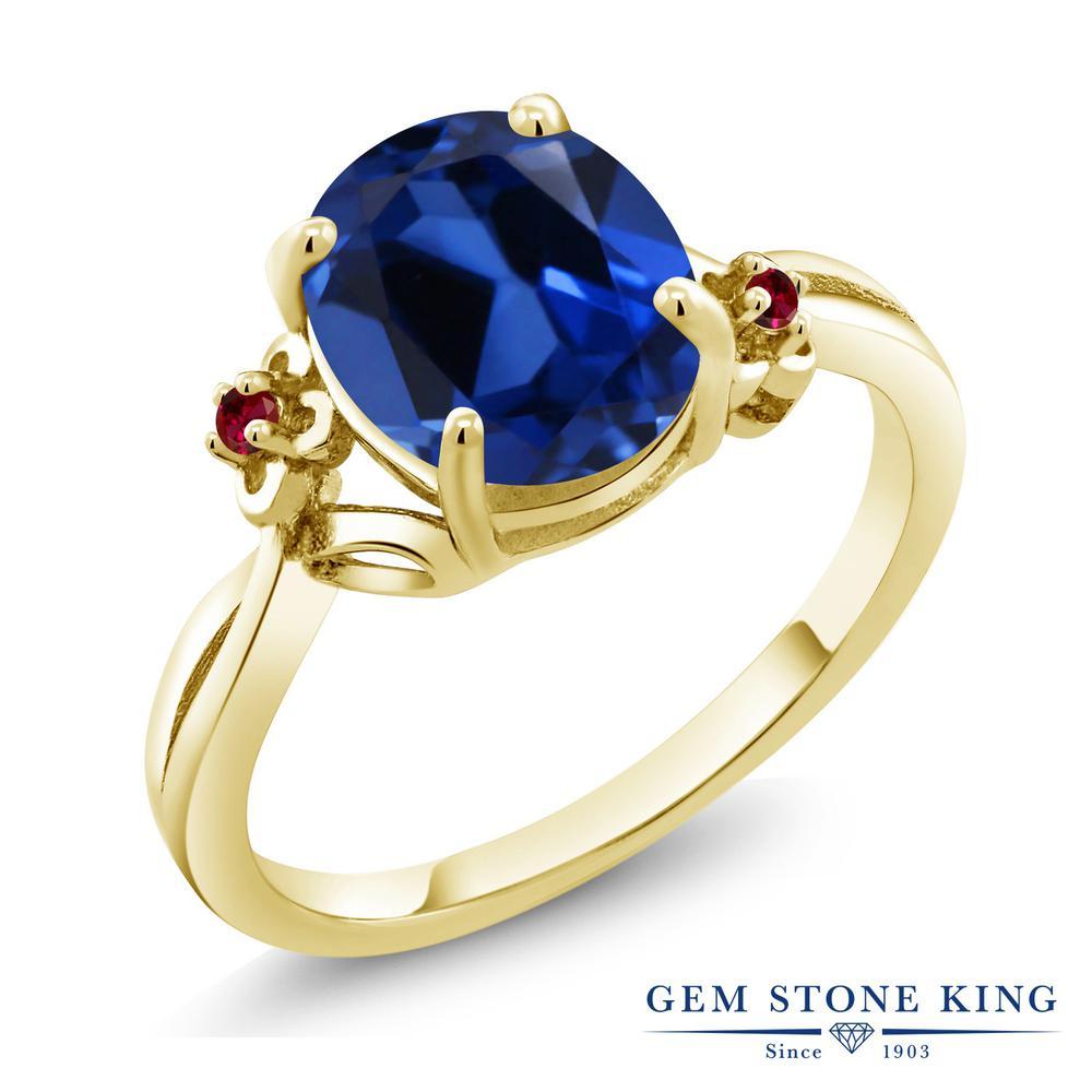 Gem Stone King 3.33カラット シミュレイテッドサファイア 合成ルビー シルバー 925 イエローゴールドコーティング 指輪 リング レディース 大粒 シンプル ソリティア 金属アレルギー対応 誕生日プレゼント
