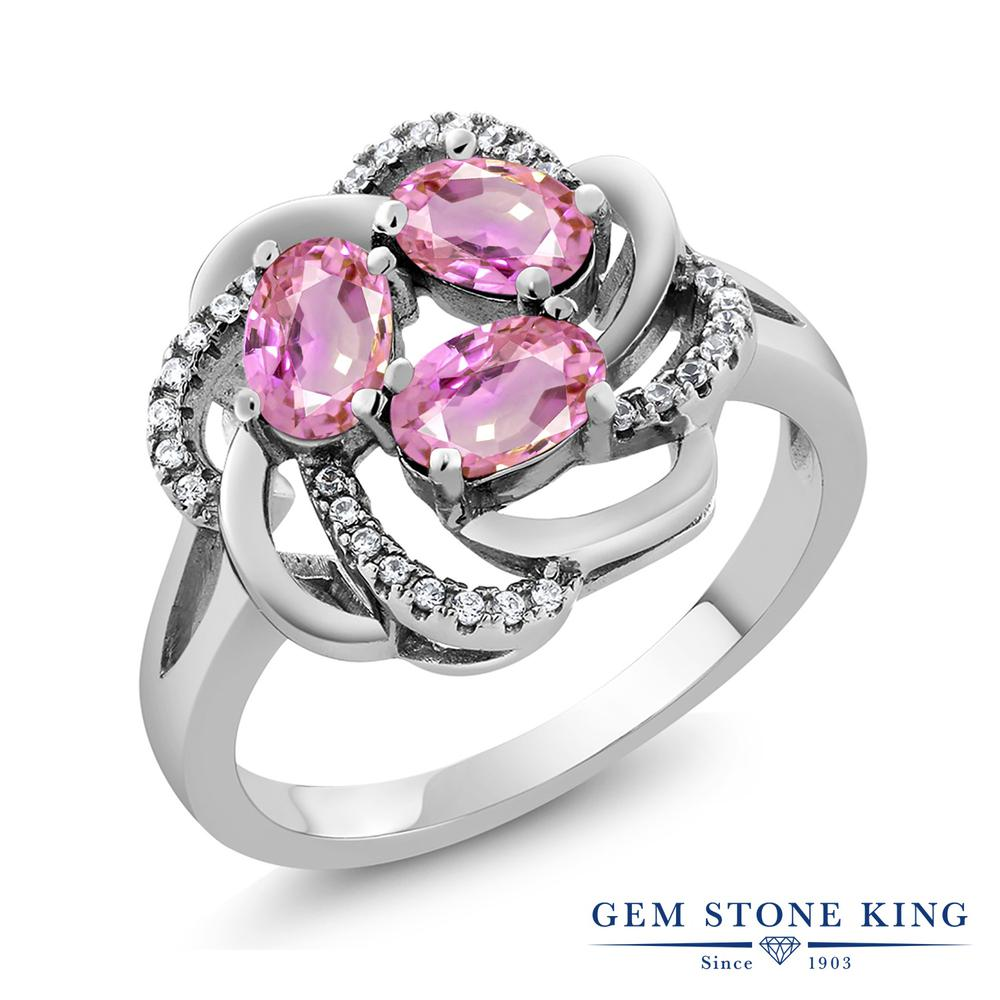 Gem Stone King 2.02カラット 天然サファイア(ピンク) シルバー925 指輪 リング レディース 天然石 誕生石 誕生日プレゼント