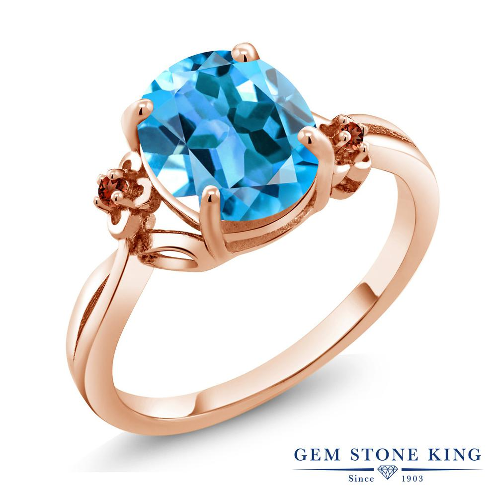 Gem Stone King 2.74カラット 天然トパーズ(スイスブルー) 天然ガーネット シルバー 925 ローズゴールドコーティング 指輪 リング レディース 大粒 シンプル ソリティア 天然石 誕生石 金属アレルギー対応 誕生日プレゼント