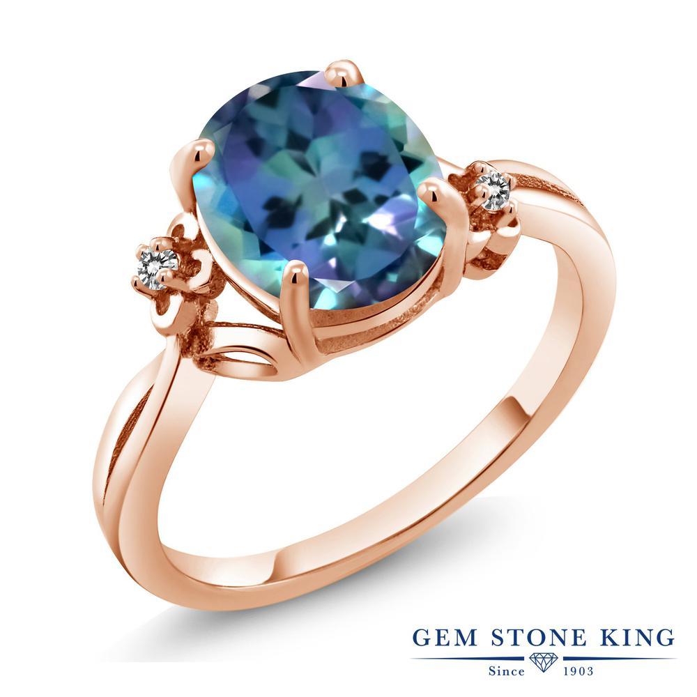 Gem Stone King 0.03カラット 天然 ミスティックトパーズ (ミレニアムブルー) 天然 ダイヤモンド シルバー925 ピンクゴールドコーティング 指輪 リング レディース 小粒 シンプル ソリティア 華奢 細身 天然石 金属アレルギー対応 誕生日プレゼント
