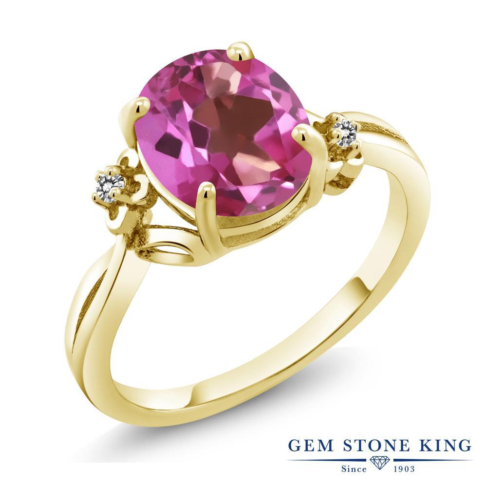 2.73カラット 天然 ミスティックトパーズ (ピンク) ダイヤモンド 指輪 リング レディース シルバー925 イエローゴールド 加工 大粒 シンプル ソリティア 天然石 金属アレルギー対応