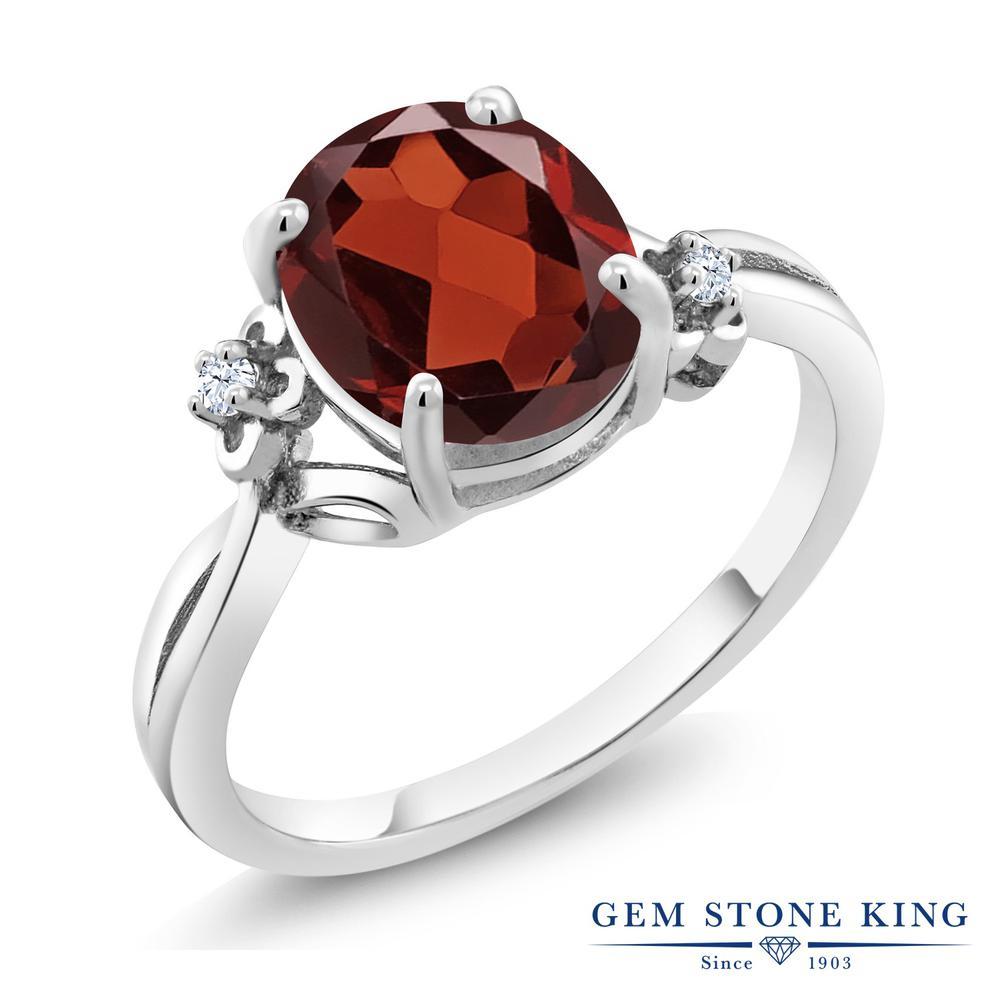 Gem Stone King 2.53カラット 天然ガーネット シルバー925 指輪 リング レディース 大粒 シンプル ソリティア 天然石 誕生石 金属アレルギー対応 誕生日プレゼント