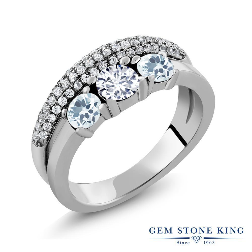 Gem Stone King 1.65カラット Forever Brilliant モアッサナイト Charles & Colvard 天然アクアマリン シルバー925 指輪 リング レディース 小粒 誕生日プレゼント