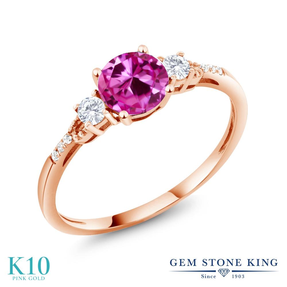 Gem Stone King 1.14カラット 合成ピンクサファイア 合成ホワイトサファイア (ダイヤのような無色透明) 天然 ダイヤモンド 10金 ピンクゴールド(K10) 指輪 リング レディース 大粒 マルチストーン 金属アレルギー対応 誕生日プレゼント