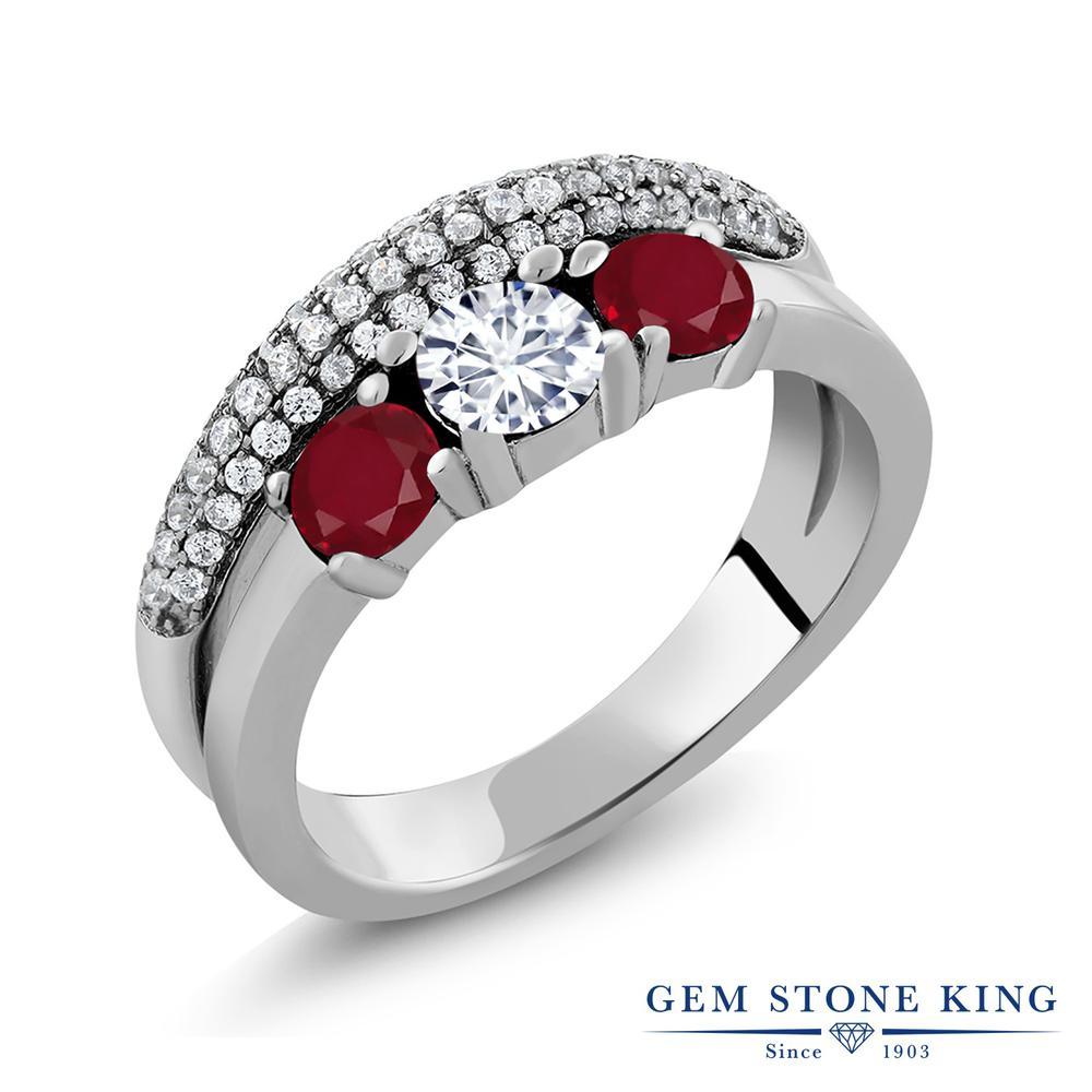 【10%OFF】 Gem Stone King 1.81カラット Forever Brilliant モアサナイト Charles & Colvard 天然 ルビー 指輪 リング レディース シルバー925 モアッサナイト 小粒 スリーストーン クリスマスプレゼント 女性 彼女 妻 誕生日