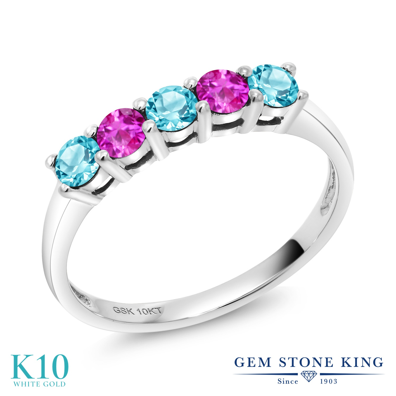 Gem Stone King 0.71カラット 天然 スイスブルートパーズ ピンクサファイア 10金 ホワイトゴールド(K10) 指輪 リング レディース 小粒 ハーフエタニティ 天然石 11月 誕生石 金属アレルギー対応 誕生日プレゼント