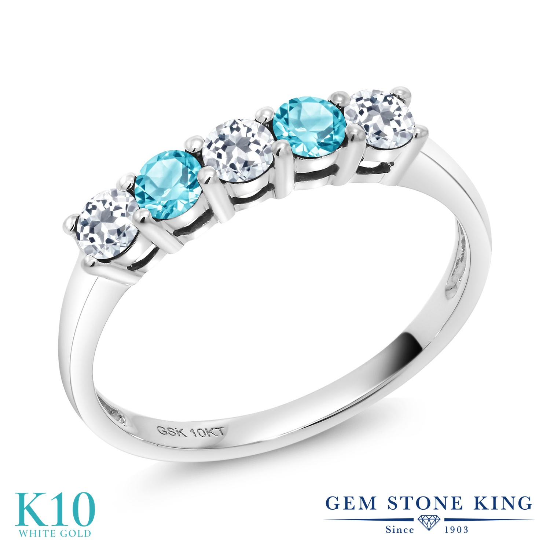 Gem Stone King 0.72カラット 天然 トパーズ (無色透明) 天然 スイスブルートパーズ 10金 ホワイトゴールド(K10) 指輪 リング レディース 小粒 ハーフエタニティ 天然石 11月 誕生石 金属アレルギー対応 誕生日プレゼント