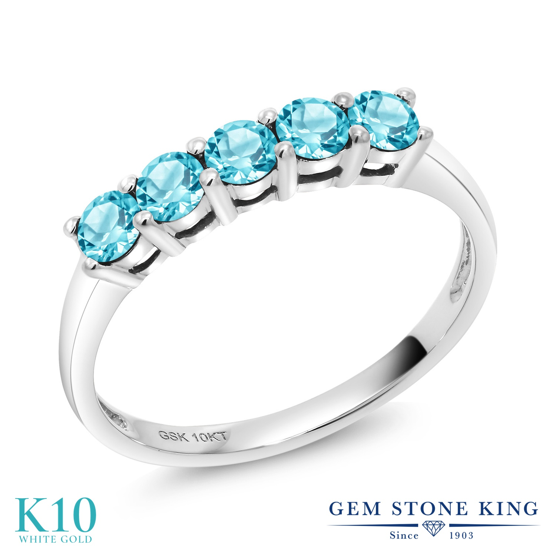 【10%OFF】 Gem Stone King 0.75カラット 天然 スイスブルートパーズ 指輪 リング レディース 10金 ホワイトゴールド K10 小粒 ハーフエタニティ 天然石 11月 誕生石 クリスマスプレゼント 女性 彼女 妻 誕生日