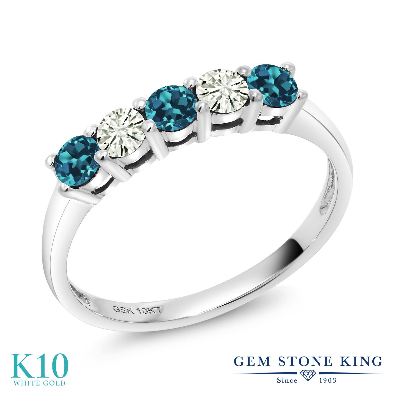 Gem Stone King 0.59カラット 天然 ロンドンブルートパーズ モアサナイト Charles & Colvard 10金 ホワイトゴールド(K10) 指輪 リング レディース 小粒 ハーフエタニティ 天然石 11月 誕生石 金属アレルギー対応 誕生日プレゼント