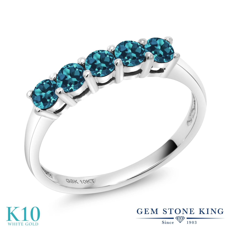 【10%OFF】 Gem Stone King 0.65カラット 天然 ロンドンブルートパーズ 指輪 リング レディース 10金 ホワイトゴールド K10 小粒 ハーフエタニティ 天然石 11月 誕生石 クリスマスプレゼント 女性 彼女 妻 誕生日