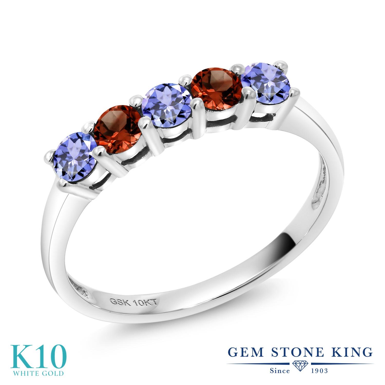 Gem Stone King 0.6カラット 天然石 タンザナイト 天然 ガーネット 10金 ホワイトゴールド(K10) 指輪 リング レディース 小粒 ハーフエタニティ 天然石 12月 誕生石 金属アレルギー対応 誕生日プレゼント
