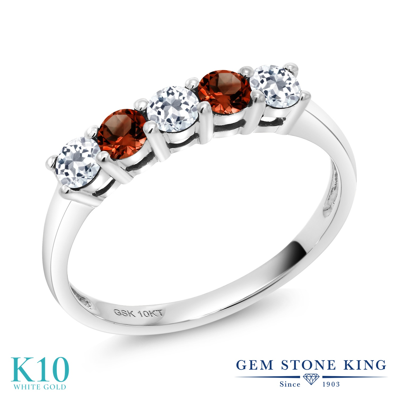 【10%OFF】 Gem Stone King 0.66カラット 天然 トパーズ ガーネット 指輪 リング レディース 10金 ホワイトゴールド K10 小粒 ハーフエタニティ 天然石 11月 誕生石 クリスマスプレゼント 女性 彼女 妻 誕生日