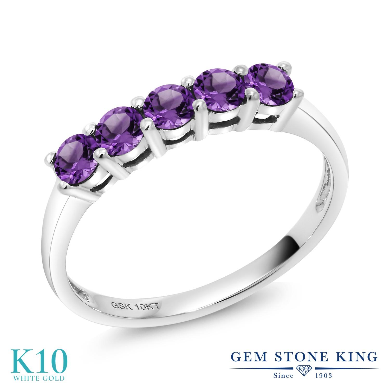 【10%OFF】 Gem Stone King 0.5カラット 天然 アメジスト 指輪 リング レディース 10金 ホワイトゴールド K10 アメシスト 小粒 バンド 天然石 2月 誕生石 クリスマスプレゼント 女性 彼女 妻 誕生日