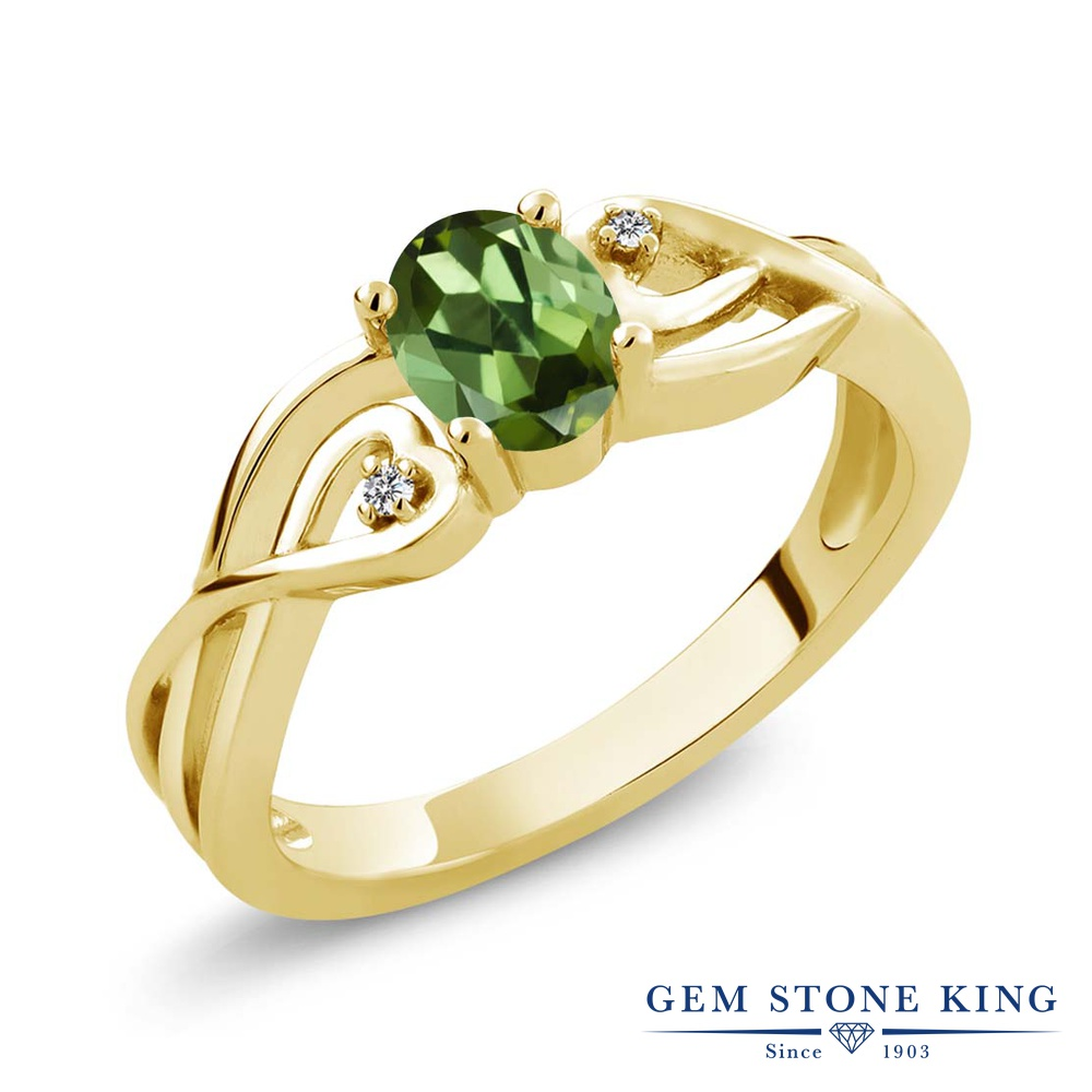 0.51カラット 天然 グリーントルマリン ダイヤモンド 指輪 リング レディース シルバー925 イエローゴールド 加工 小粒 シンプル ソリティア 天然石 10月 誕生石 金属アレルギー対応