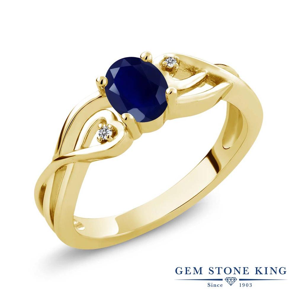 Gem Stone King 0.56カラット 天然サファイア シルバー 925 イエローゴールドコーティング 天然ダイヤモンド 指輪 リング レディース シンプル ソリティア 天然石 誕生石 金属アレルギー対応 誕生日プレゼント