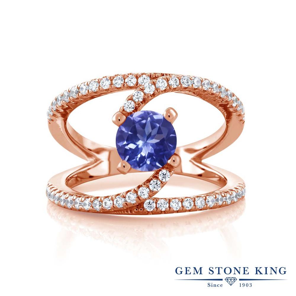 1.38カラット 指輪 レディース リング ピンクゴールド 加工 シルバー925 ブランド おしゃれ 青 カクテル 天然石 プレゼント 女性 彼女 妻 誕生日