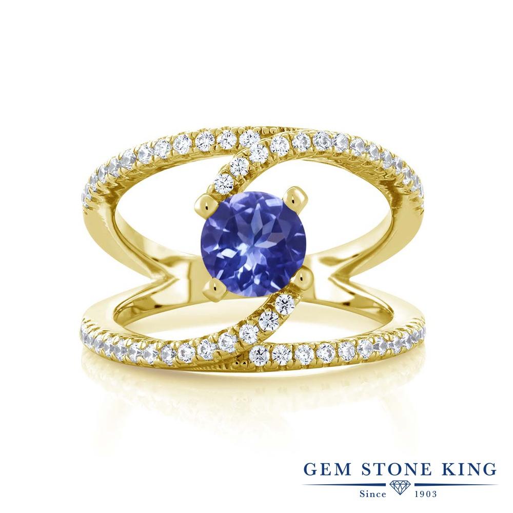 1.38カラット 指輪 レディース リング イエローゴールド 加工 シルバー925 ブランド おしゃれ 青 カクテル 天然石 プレゼント 女性 彼女 妻 誕生日