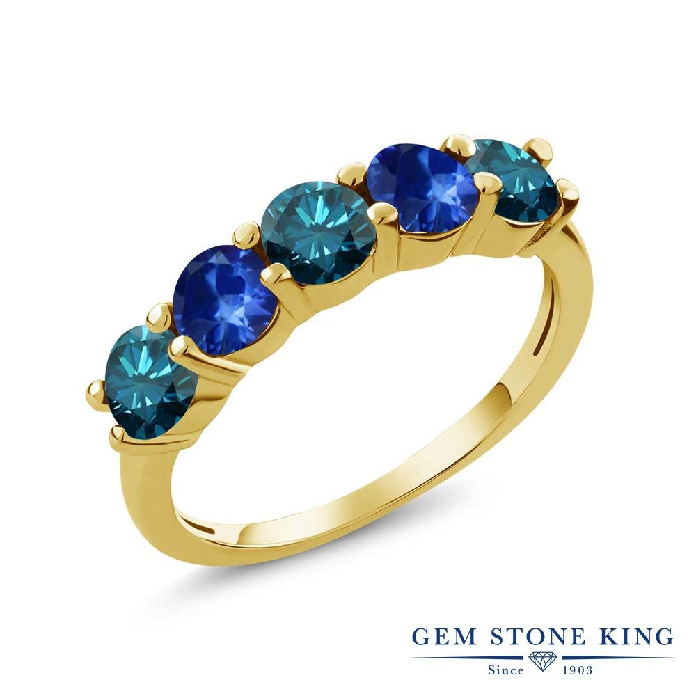 0.93カラット 天然 ブルーダイヤモンド サファイア 指輪 リング レディース シルバー925 イエローゴールド 加工 ブルー ダイヤ 小粒 ハーフエタニティ 天然石 4月 誕生石 結婚指輪 ウェディングバンド