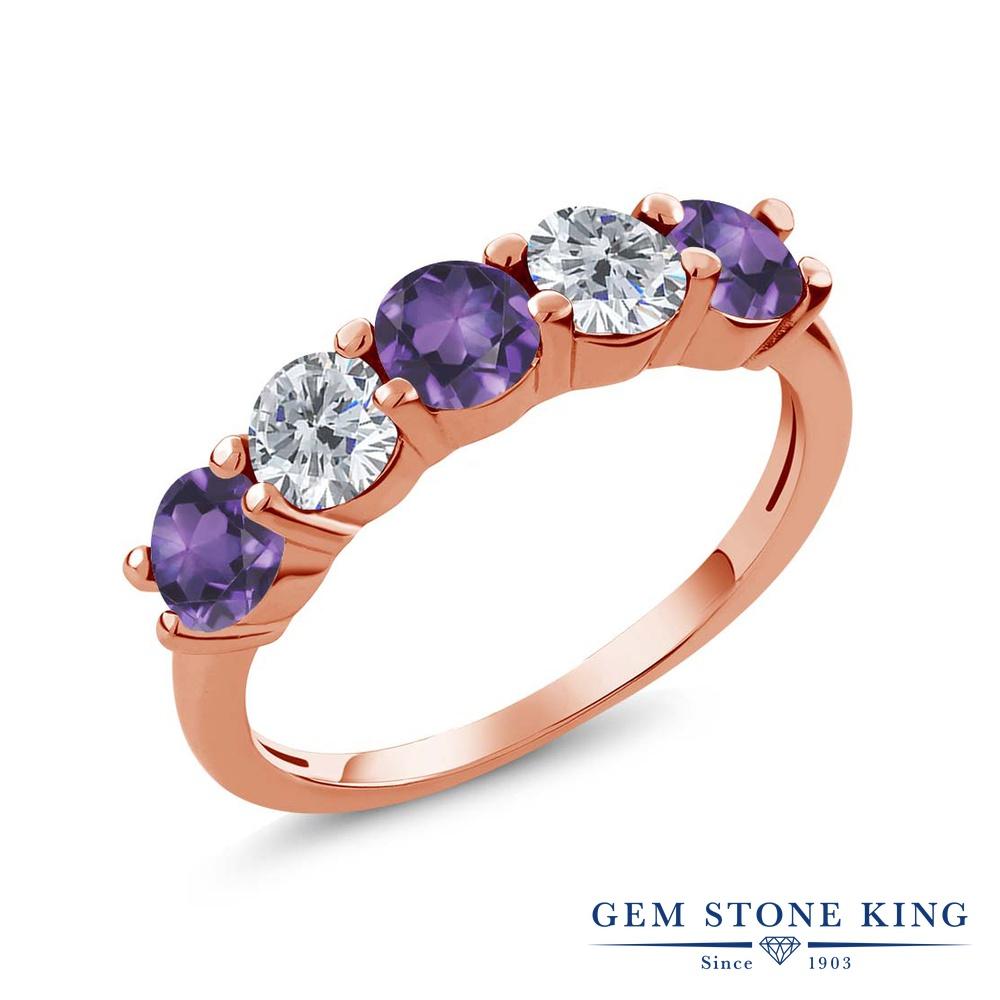 Gem Stone King 0.79カラット 天然 アメジスト 天然 ダイヤモンド シルバー925 ピンクゴールドコーティング 指輪 リング レディース 小粒 ハーフエタニティ 天然石 2月 誕生石 金属アレルギー対応 結婚指輪 ウェディングバンド