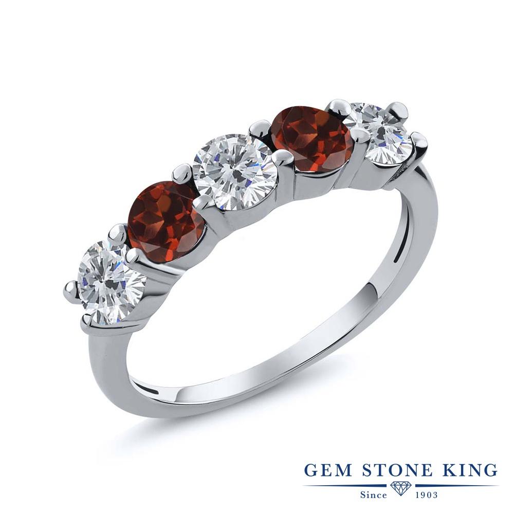 0.85カラット 天然 ダイヤモンド 指輪 レディース リング ガーネット シルバー925 ブランド おしゃれ 5連 ダイヤ 小粒 ハーフエタニティ 天然石 4月 誕生石 結婚指輪 ウェディングバンド