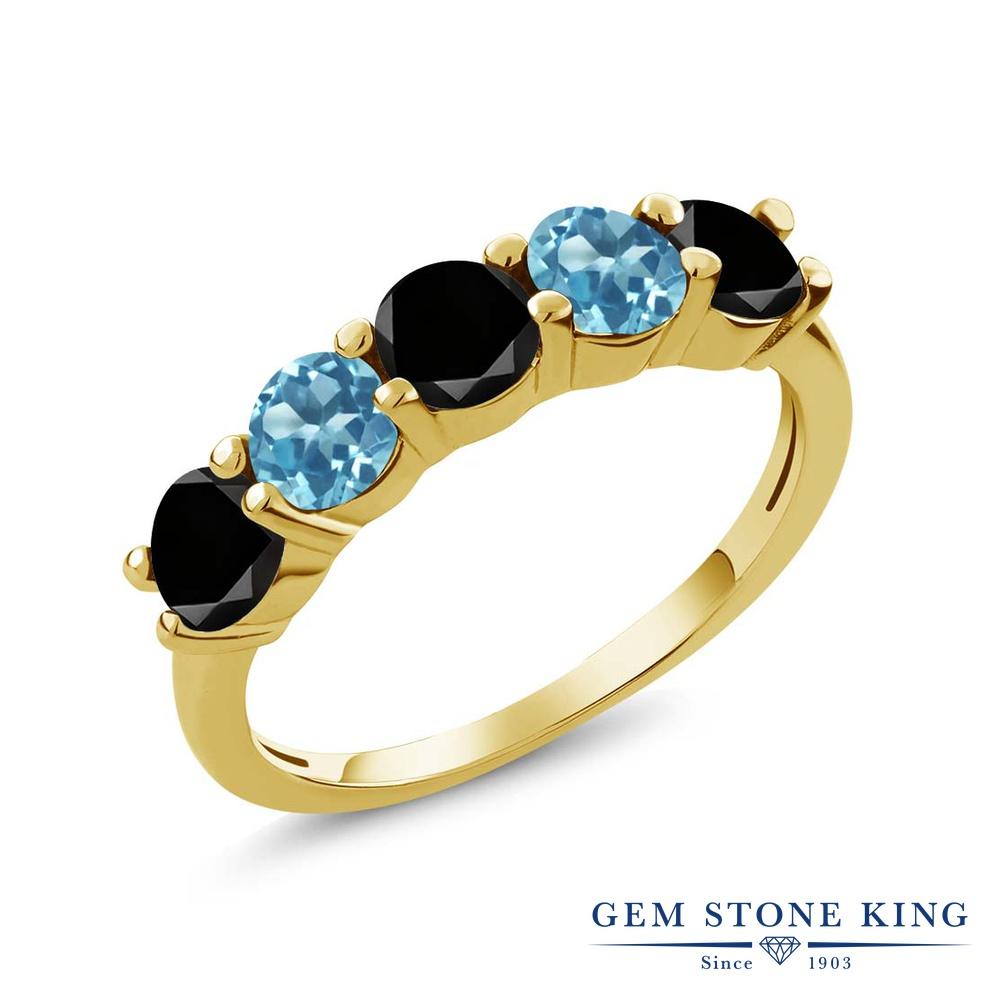 Gem Stone King 0.91カラット 天然ブラックダイヤモンド 天然 スイスブルートパーズ シルバー925 イエローゴールドコーティング 指輪 リング レディース ブラック ダイヤ 小粒 ハーフエタニティ 天然石 4月 誕生石 金属アレルギー対応 結婚指輪 ウェディングバンド