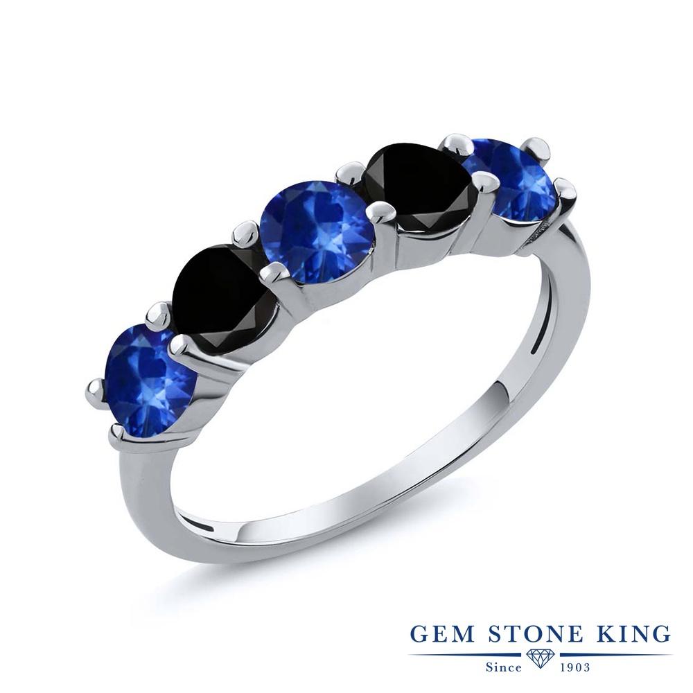 Gem Stone King 1.06カラット 天然 サファイア 天然ブラックダイヤモンド シルバー925 指輪 リング レディース 小粒 ハーフエタニティ 天然石 9月 誕生石 金属アレルギー対応 結婚指輪 ウェディングバンド