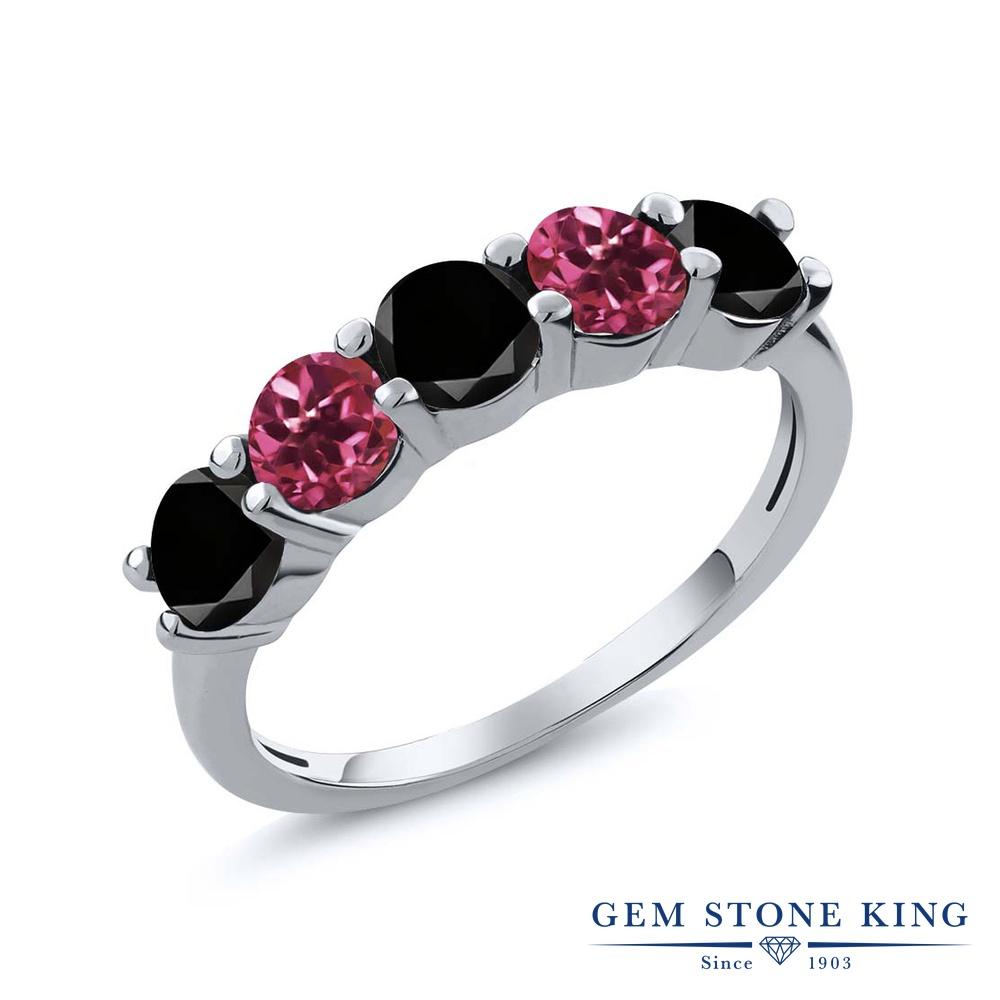 Gem Stone King 0.81カラット 天然ブラックダイヤモンド 天然 ピンクトルマリン シルバー925 指輪 リング レディース ブラック ダイヤ 小粒 ハーフエタニティ 天然石 4月 誕生石 金属アレルギー対応 結婚指輪 ウェディングバンド