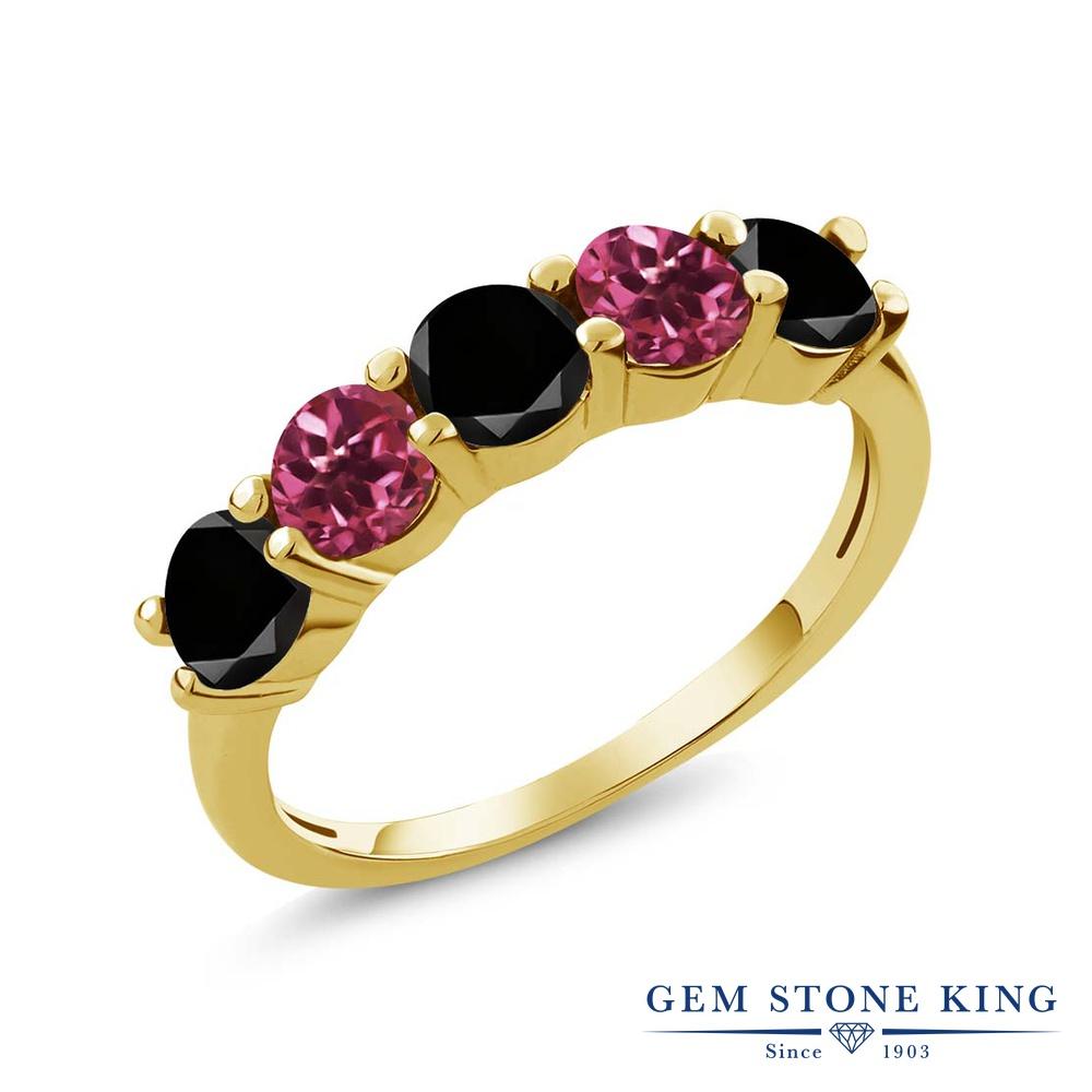 Gem Stone King 0.81カラット 天然ブラックダイヤモンド 天然 ピンクトルマリン シルバー925 イエローゴールドコーティング 指輪 リング レディース ブラック ダイヤ 小粒 ハーフエタニティ 天然石 4月 誕生石 金属アレルギー対応 結婚指輪 ウェディングバンド