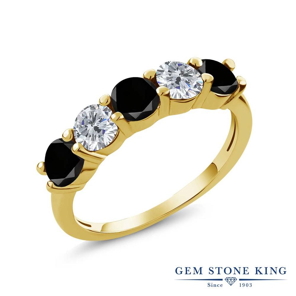 Gem Stone King 0.85カラット 天然ブラックダイヤモンド シルバー925 イエローゴールドコーティング 指輪 リング レディース ブラック ダイヤ 小粒 ハーフエタニティ 天然石 4月 誕生石 金属アレルギー対応 結婚指輪 ウェディングバンド
