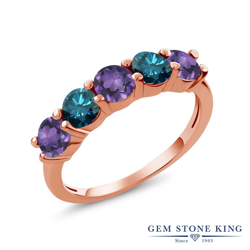 Gem Stone King 0.75カラット 天然 アメジスト 天然 ブルーダイヤモンド シルバー925 ピンクゴールドコーティング 指輪 リング レディース 小粒 ハーフエタニティ 天然石 2月 誕生石 金属アレルギー対応 結婚指輪 ウェディングバンド