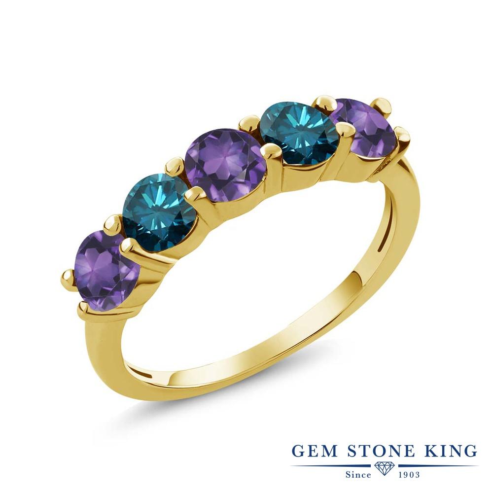 Gem Stone King 0.75カラット 天然 アメジスト 天然 ブルーダイヤモンド シルバー925 イエローゴールドコーティング 指輪 リング レディース 小粒 ハーフエタニティ 天然石 2月 誕生石 金属アレルギー対応 結婚指輪 ウェディングバンド