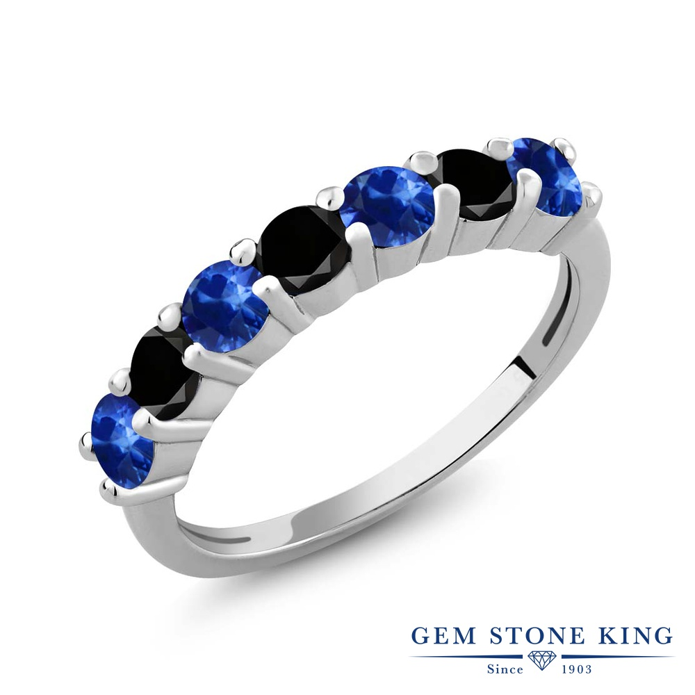 Gem Stone King 1.47カラット 天然 サファイア 天然ブラックダイヤモンド シルバー925 指輪 リング レディース 小粒 バンド 天然石 9月 誕生石 金属アレルギー対応 誕生日プレゼント