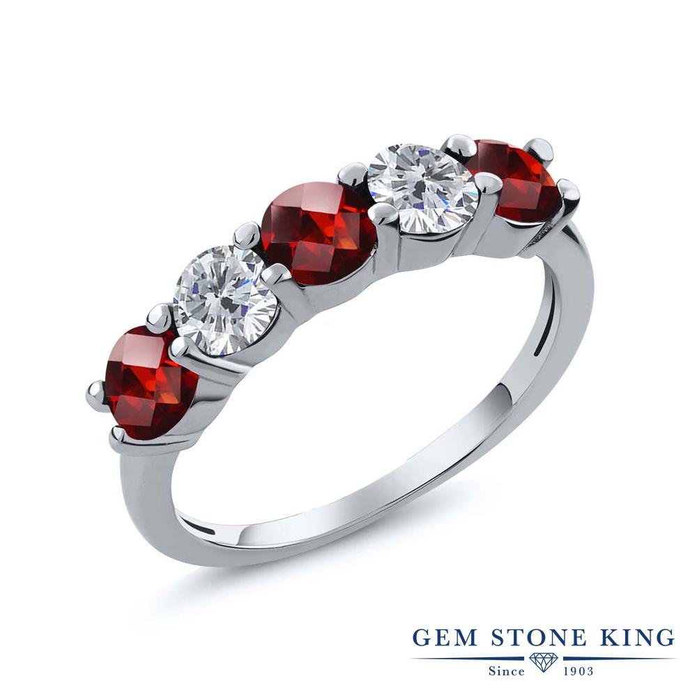 Gem Stone King 1.05カラット 天然 ガーネット 天然 ダイヤモンド シルバー925 指輪 リング レディース 小粒 ハーフエタニティ 天然石 1月 誕生石 金属アレルギー対応 結婚指輪 ウェディングバンド