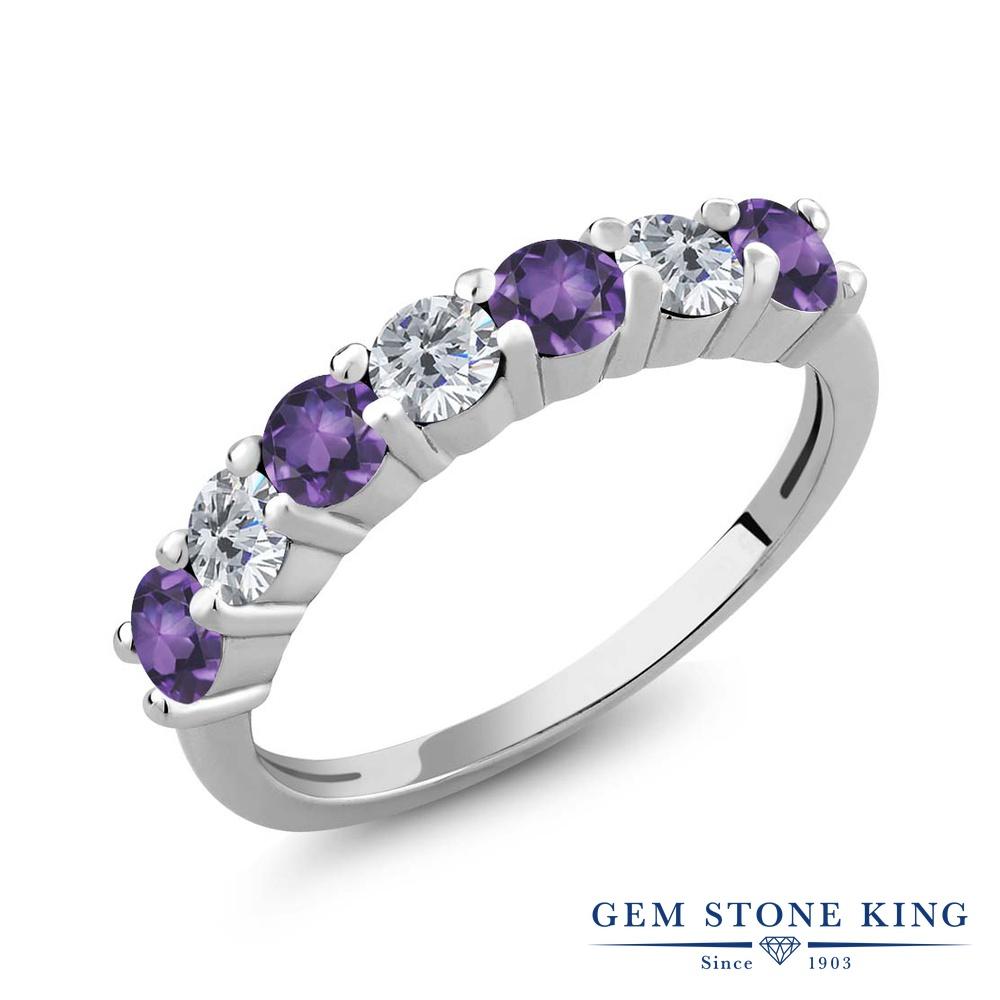 Gem Stone King 1.05カラット 天然アメジスト シルバー925 天然ダイヤモンド 指輪 リング レディース 小粒 天然石 誕生石 誕生日プレゼント