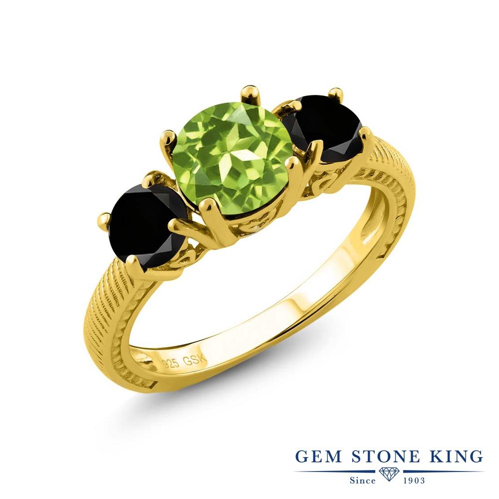 Gem Stone King 2.45カラット 天然石ペリドット シルバー 925 イエローゴールドコーティング 天然ブラックダイヤモンド 指輪 リング レディース 大粒 シンプル 天然石 誕生石 誕生日プレゼント