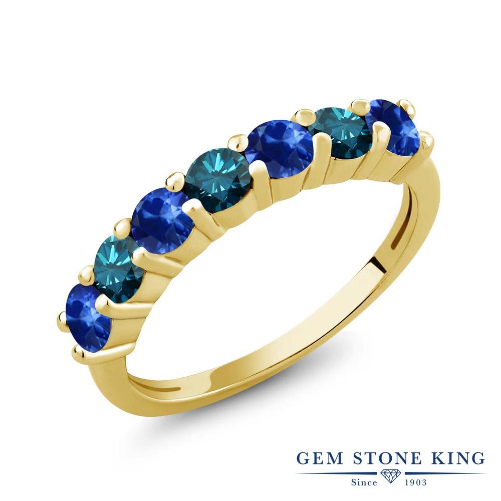 Gem Stone King 1.41カラット 天然 King サファイア 天然 シルバー925 ブルーダイヤモンド シルバー925 天然石 イエローゴールドコーティング 指輪 リング レディース 小粒 バンド 天然石 9月 誕生石 金属アレルギー対応 誕生日プレゼント, コジマ:8e60a990 --- ww.thecollagist.com