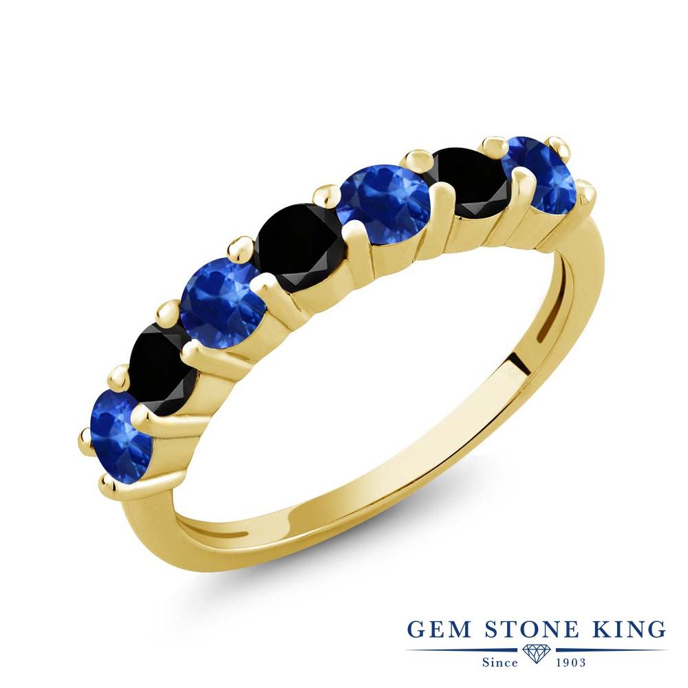 Gem Stone King 1.47カラット 天然 サファイア 天然ブラックダイヤモンド シルバー925 イエローゴールドコーティング 指輪 リング レディース 小粒 バンド 天然石 9月 誕生石 金属アレルギー対応 誕生日プレゼント