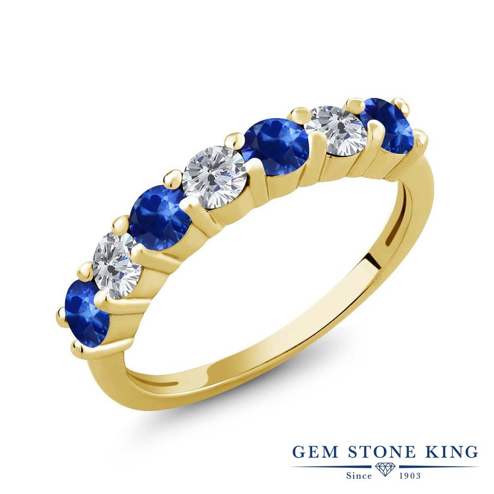 【クーポンで10%OFF】 Gem Stone King 1.41カラット 天然 サファイア 天然 ダイヤモンド シルバー925 イエローゴールドコーティング 指輪 リング レディース 小粒 バンド 天然石 9月 誕生石 金属アレルギー対応 誕生日プレゼント