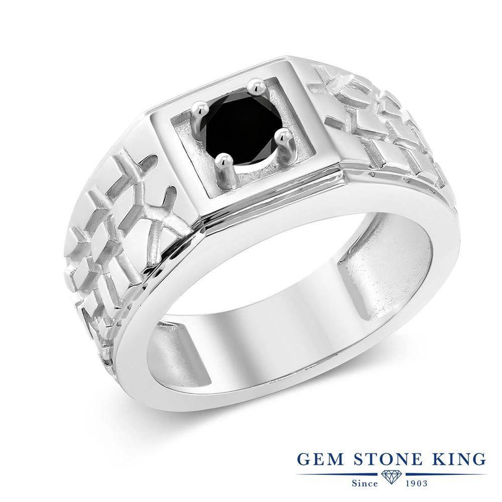 0.55カラット ブラックダイヤモンド 指輪 レディース リング シルバー925 ブランド おしゃれ 四角い 一粒 ブラック ダイヤ 黒 シンプル 太め 太い ソリティア 天然石 4月 誕生石 プレゼント 女性 彼女 妻 誕生日