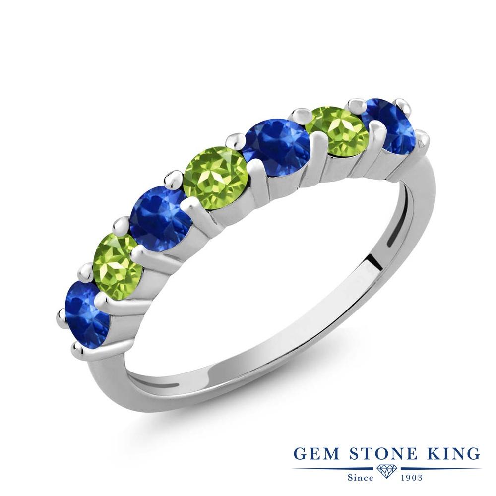 Gem Stone King 1.50カラット 天然サファイア 天然石ペリドット シルバー925 指輪 リング レディース 小粒 バンド 天然石 誕生石 金属アレルギー対応 誕生日プレゼント
