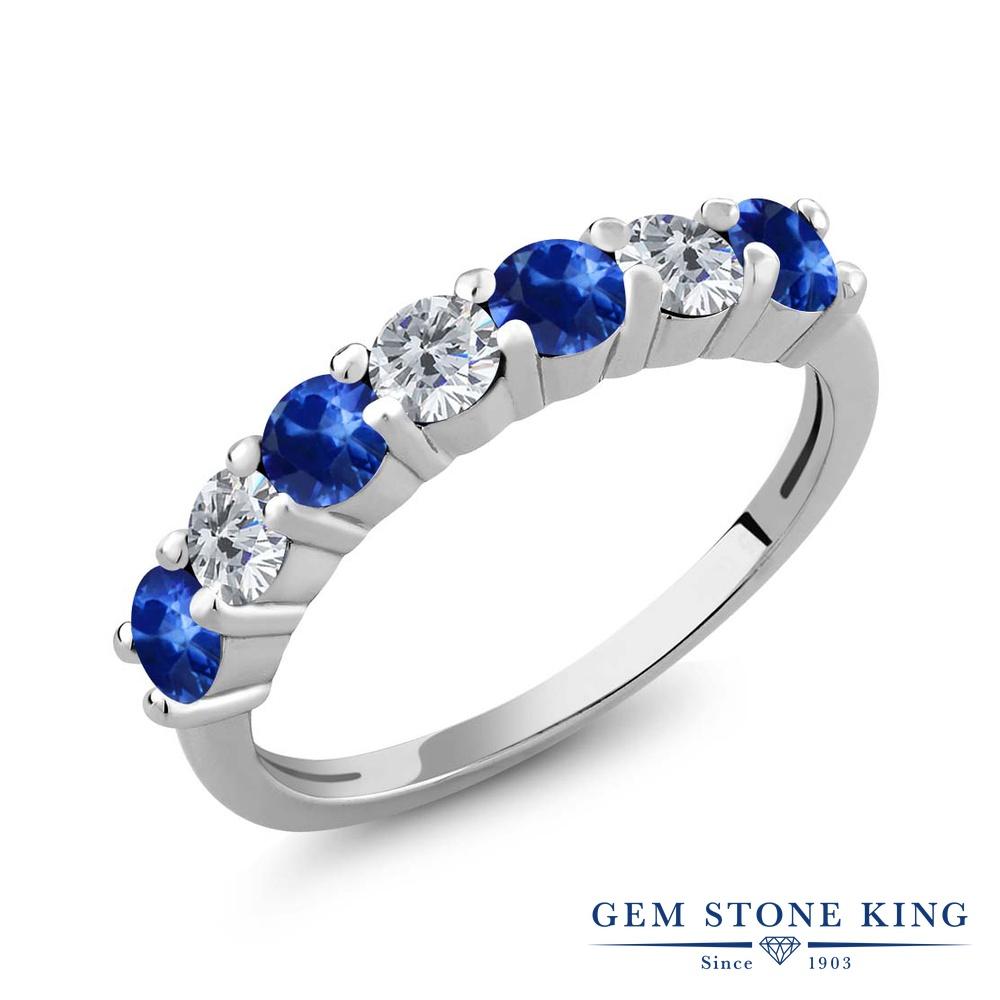 【クーポンで10%OFF】 Gem Stone King 1.41カラット 天然 サファイア 天然 ダイヤモンド シルバー925 指輪 リング レディース 小粒 バンド 天然石 9月 誕生石 金属アレルギー対応 誕生日プレゼント