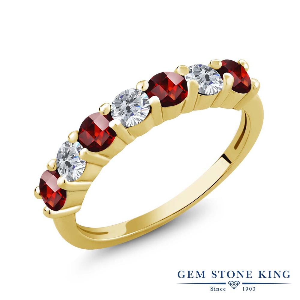 Gem Stone King 1.51カラット 天然 ガーネット 天然 ダイヤモンド シルバー925 イエローゴールドコーティング 指輪 リング レディース 小粒 バンド 天然石 1月 誕生石 金属アレルギー対応 誕生日プレゼント