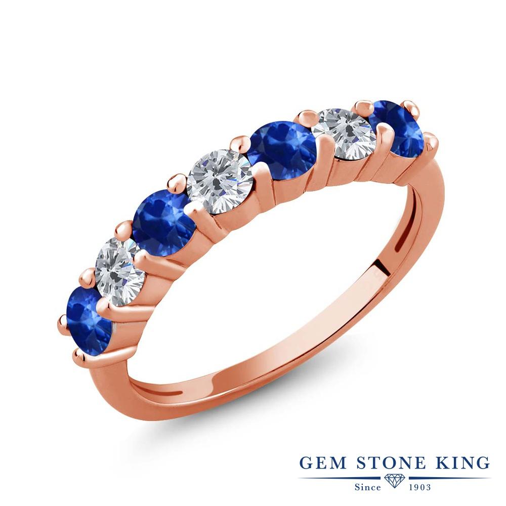 【クーポンで10%OFF】 Gem Stone King 1.41カラット 天然 サファイア 天然 ダイヤモンド シルバー925 ピンクゴールドコーティング 指輪 リング レディース 小粒 バンド 天然石 9月 誕生石 金属アレルギー対応 誕生日プレゼント