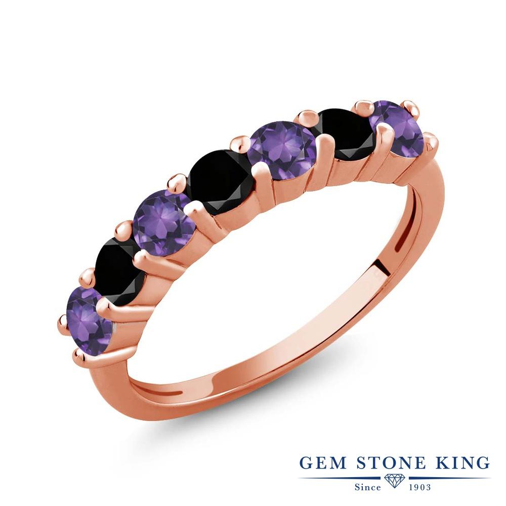 Gem Stone King 1.11カラット 天然 アメジスト 天然ブラックダイヤモンド シルバー925 ピンクゴールドコーティング 指輪 リング レディース 小粒 バンド 天然石 2月 誕生石 金属アレルギー対応 誕生日プレゼント