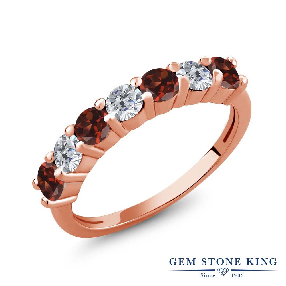 1.25カラット 天然 ガーネット ダイヤモンド 指輪 リング レディース シルバー925 ピンクゴールド 加工 小粒 バンド 天然石 1月 誕生石 プレゼント 女性 彼女 妻 誕生日