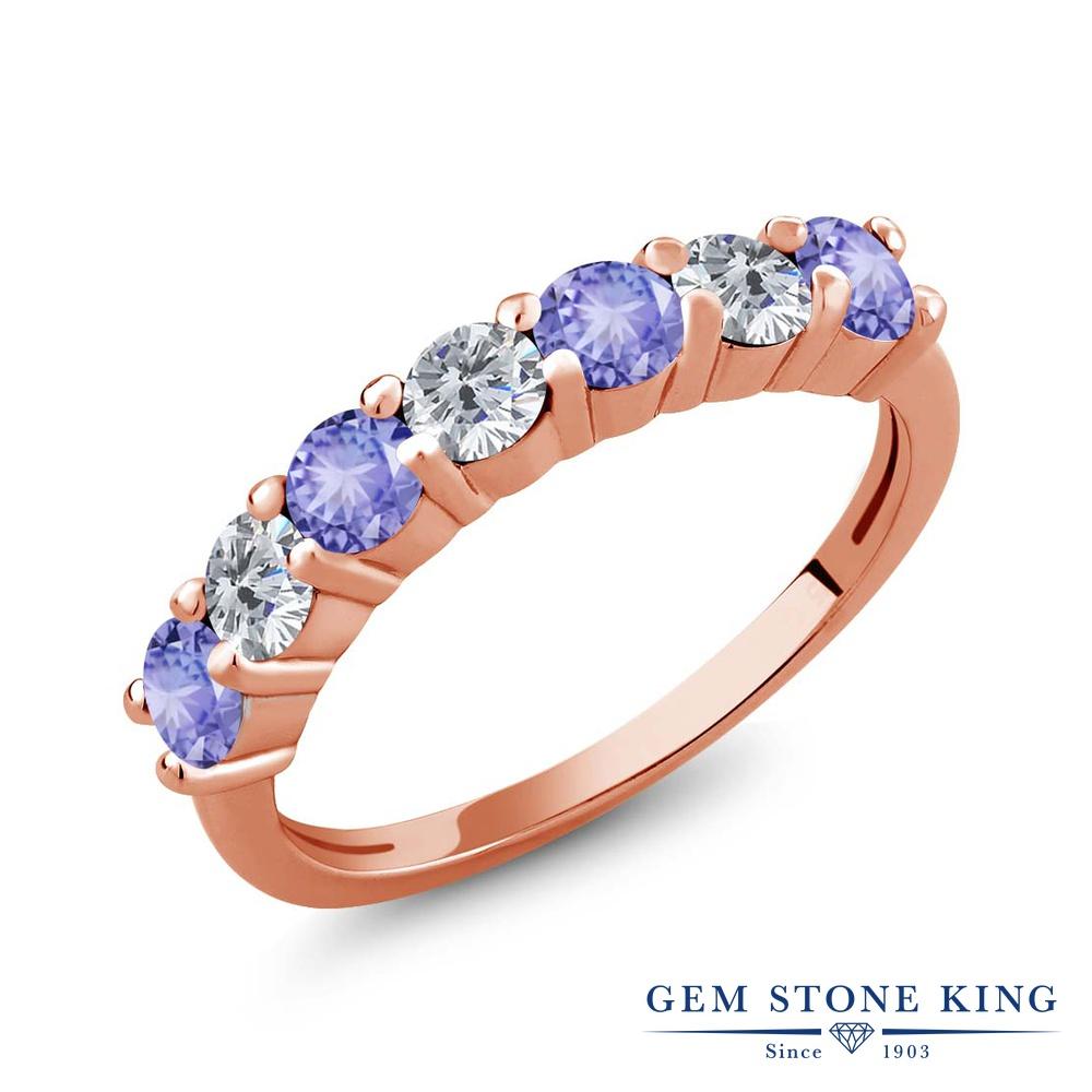 【クーポンで10%OFF】 Gem Stone King 1.17カラット 天然石 タンザナイト 天然 ダイヤモンド シルバー925 ピンクゴールドコーティング 指輪 リング レディース 小粒 バンド 天然石 12月 誕生石 金属アレルギー対応 誕生日プレゼント