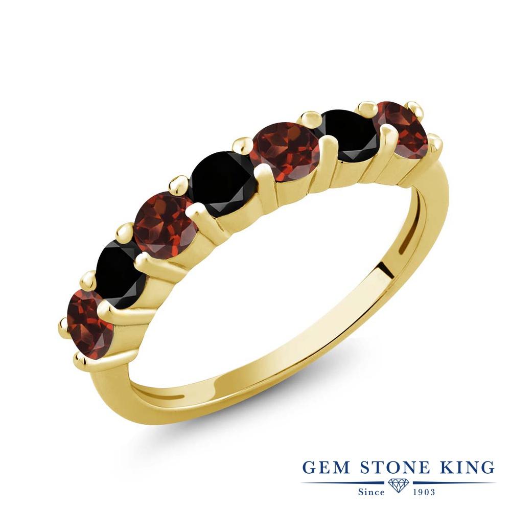 Gem Stone King 1.31カラット 天然 ガーネット 天然ブラックダイヤモンド シルバー925 イエローゴールドコーティング 指輪 リング レディース 小粒 バンド 天然石 1月 誕生石 金属アレルギー対応 誕生日プレゼント
